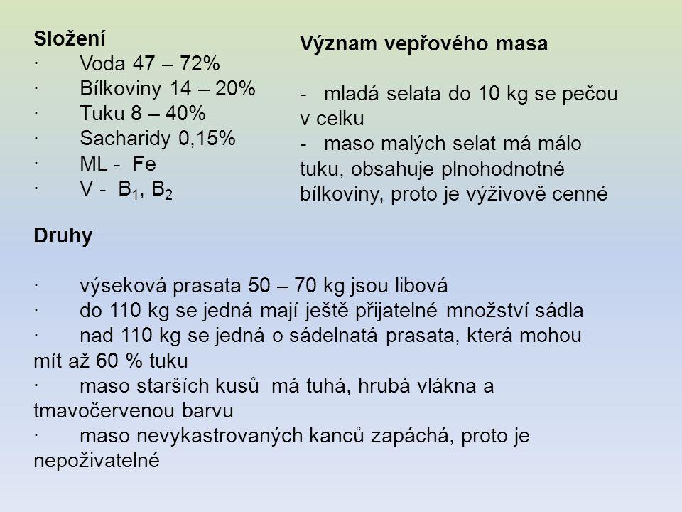Složení · Voda 47 – 72% · Bílkoviny 14 – 20% · Tuku 8 – 40% · Sacharidy 0,15%