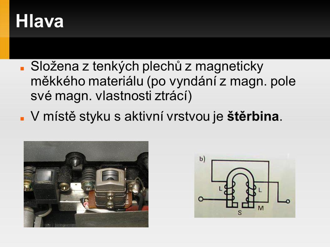 Hlava Složena z tenkých plechů z magneticky měkkého materiálu (po vyndání z magn. pole své magn. vlastnosti ztrácí)