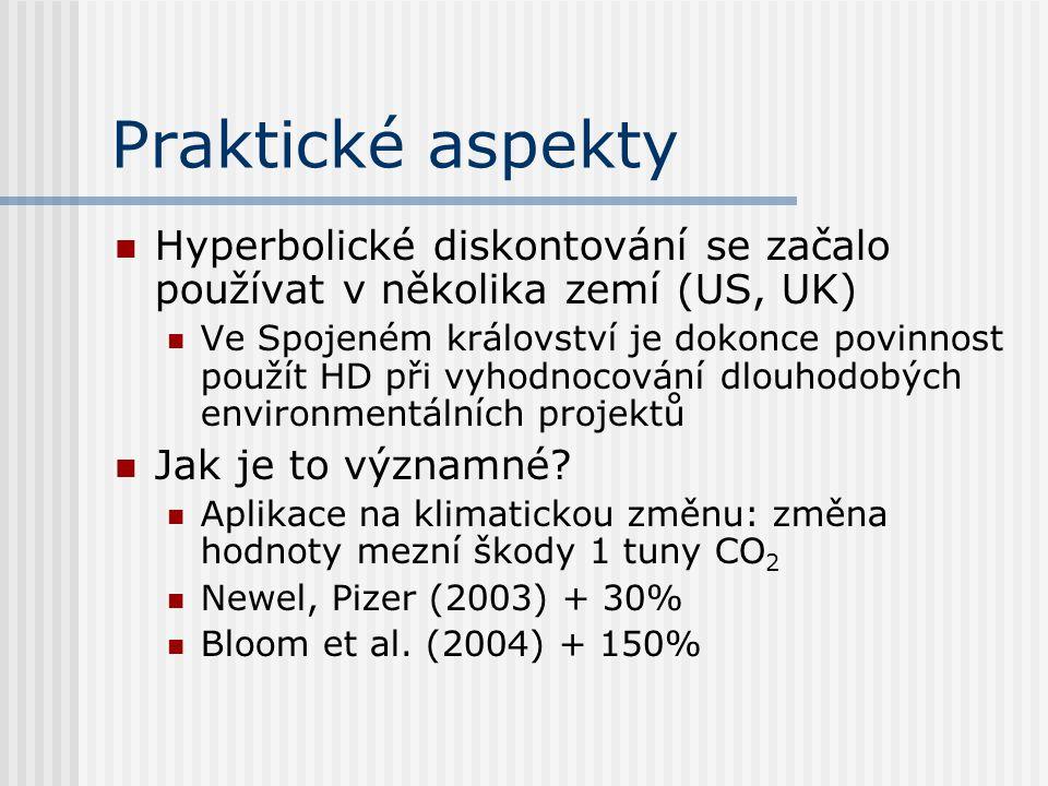 Praktické aspekty Hyperbolické diskontování se začalo používat v několika zemí (US, UK)
