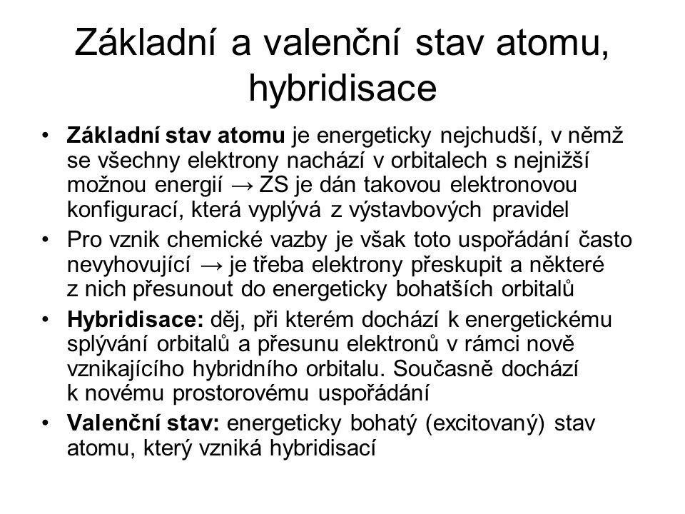 Základní a valenční stav atomu, hybridisace