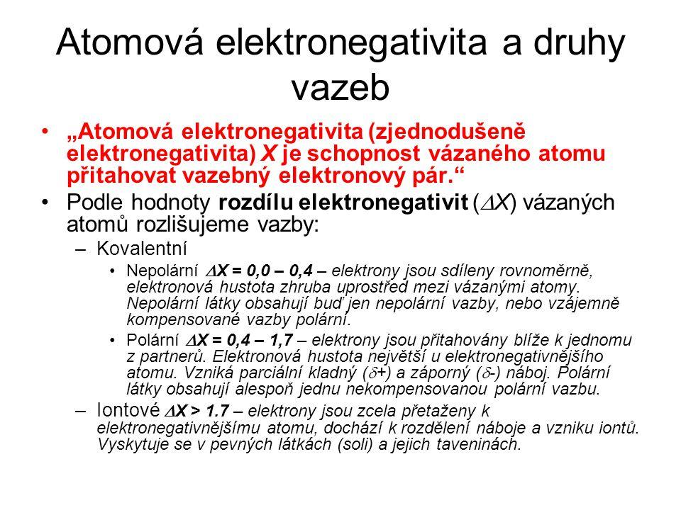 Atomová elektronegativita a druhy vazeb