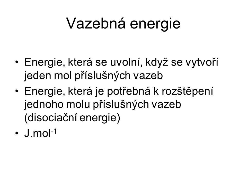Vazebná energie Energie, která se uvolní, když se vytvoří jeden mol příslušných vazeb.
