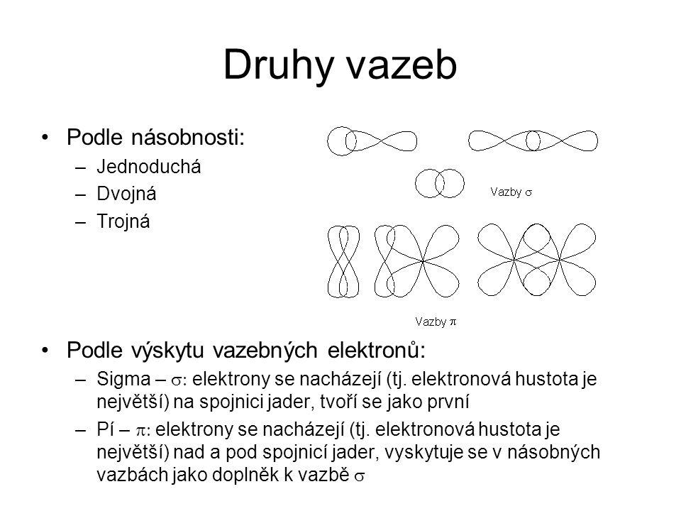 Druhy vazeb Podle násobnosti: Podle výskytu vazebných elektronů: