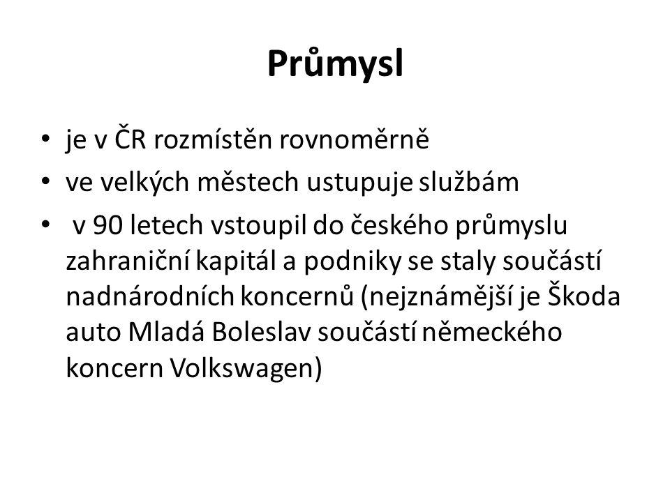 Průmysl je v ČR rozmístěn rovnoměrně