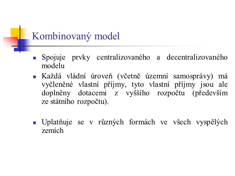 Kombinovaný model Spojuje prvky centralizovaného a decentralizovaného modelu.