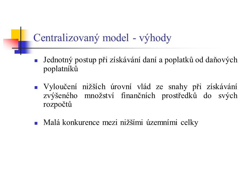 Centralizovaný model - výhody