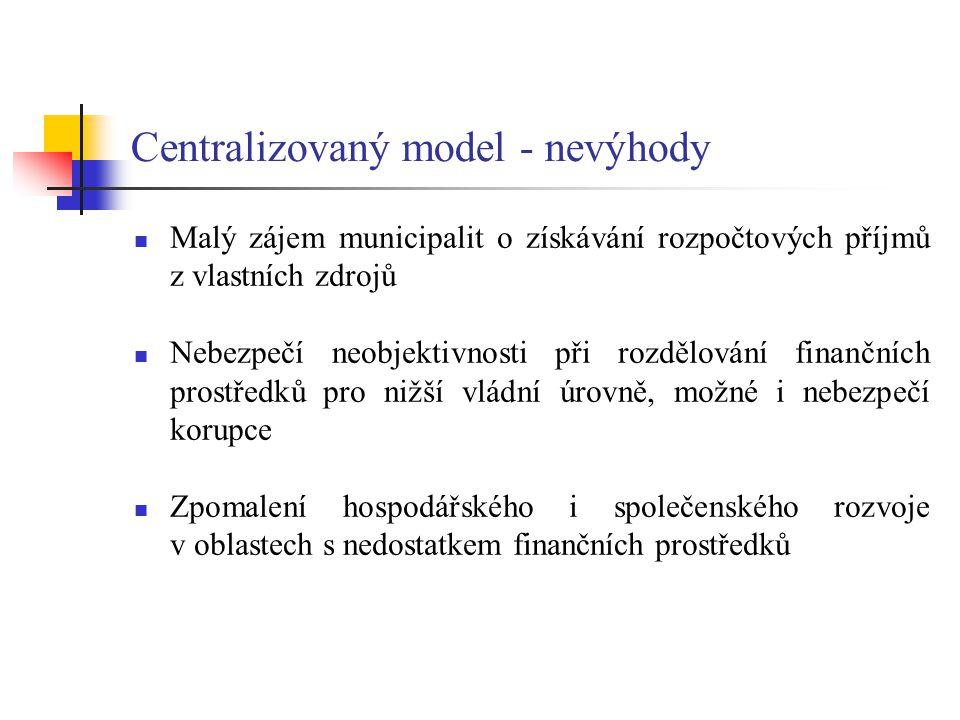 Centralizovaný model - nevýhody