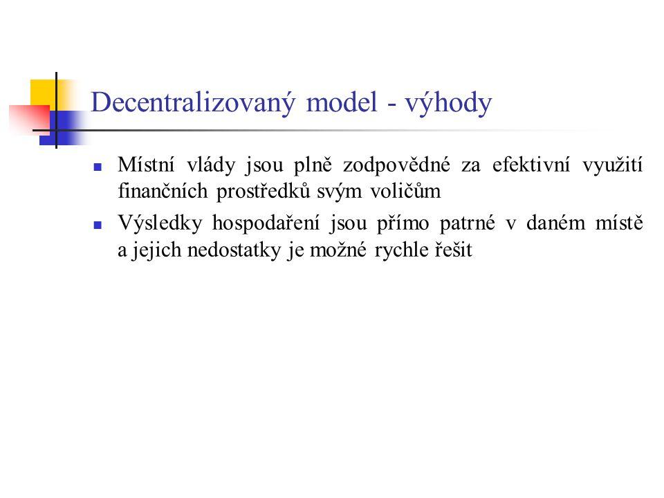 Decentralizovaný model - výhody