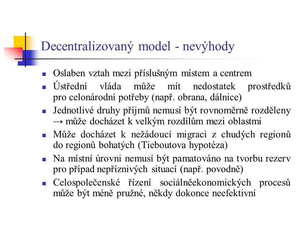 Decentralizovaný model - nevýhody
