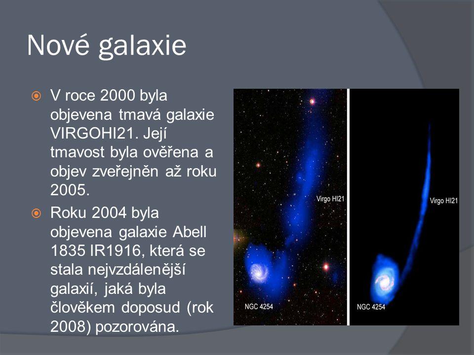 Nové galaxie V roce 2000 byla objevena tmavá galaxie VIRGOHI21. Její tmavost byla ověřena a objev zveřejněn až roku 2005.