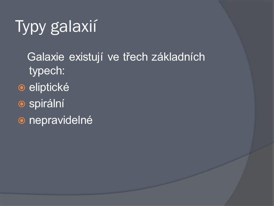 Typy galaxií Galaxie existují ve třech základních typech: eliptické