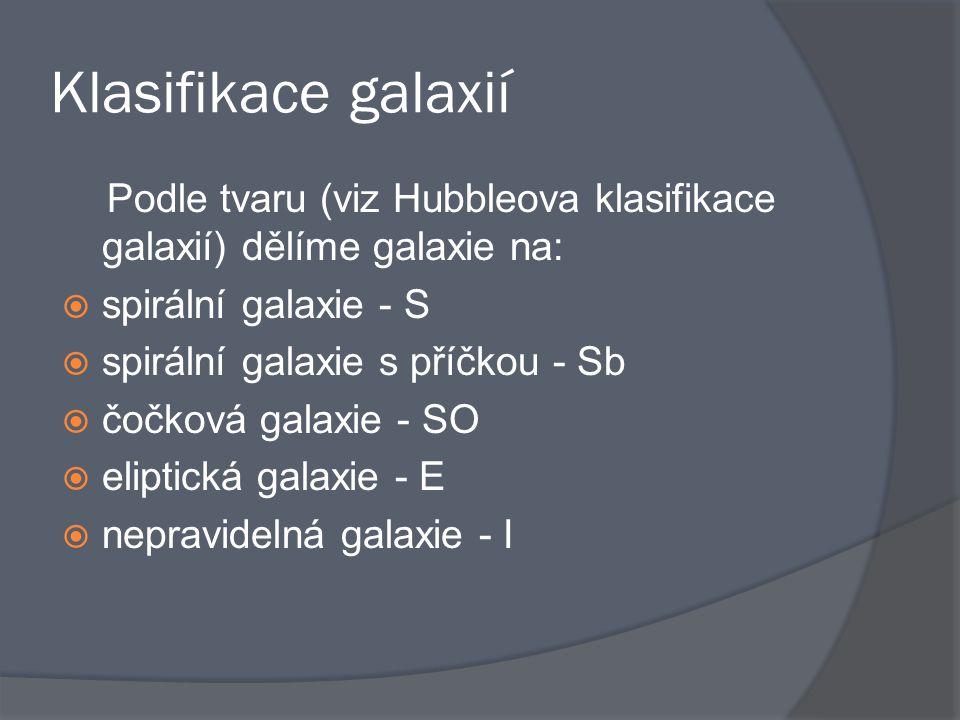 Klasifikace galaxií Podle tvaru (viz Hubbleova klasifikace galaxií) dělíme galaxie na: spirální galaxie - S.