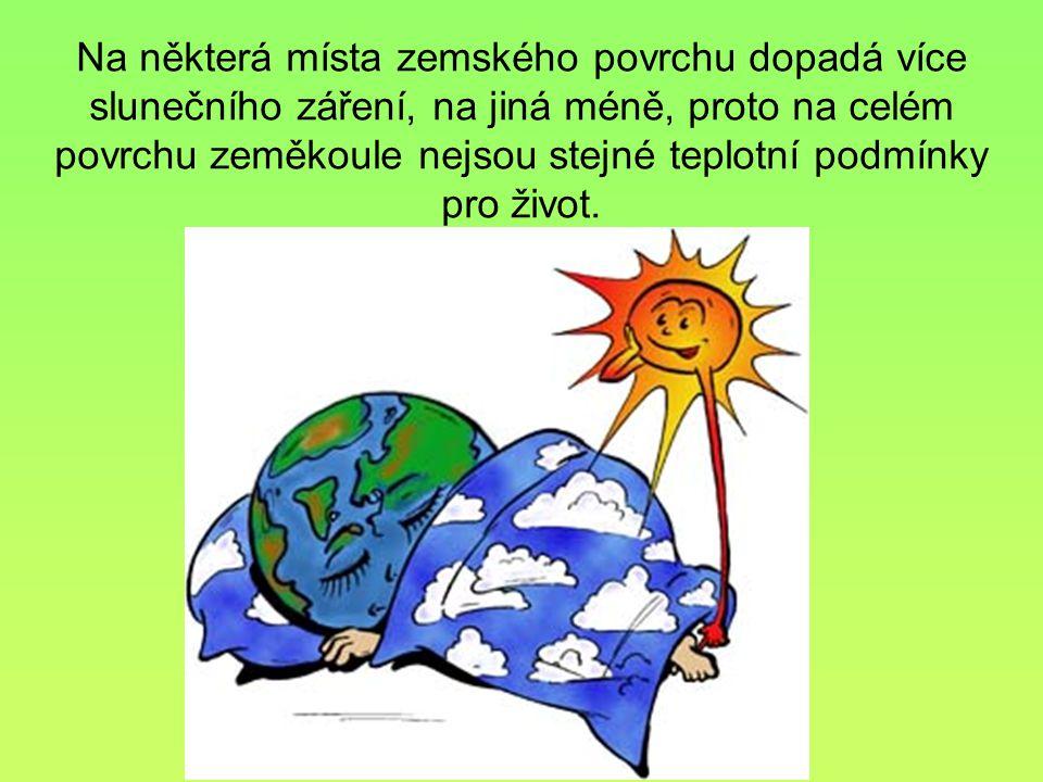Na některá místa zemského povrchu dopadá více slunečního záření, na jiná méně, proto na celém povrchu zeměkoule nejsou stejné teplotní podmínky pro život.
