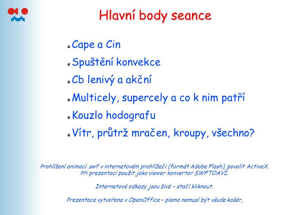 Hlavní body seance Cape a Cin Spuštění konvekce Cb lenivý a akční