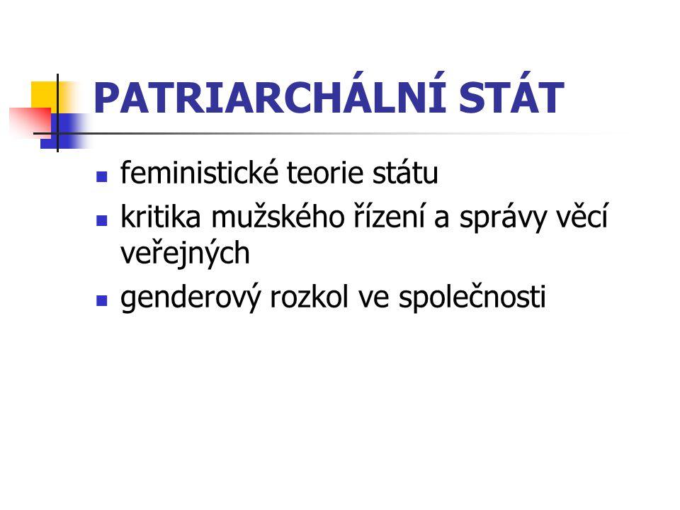 PATRIARCHÁLNÍ STÁT feministické teorie státu