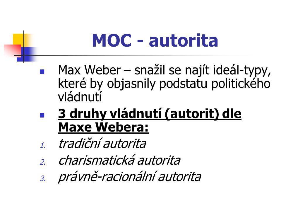 MOC - autorita Max Weber – snažil se najít ideál-typy, které by objasnily podstatu politického vládnutí.