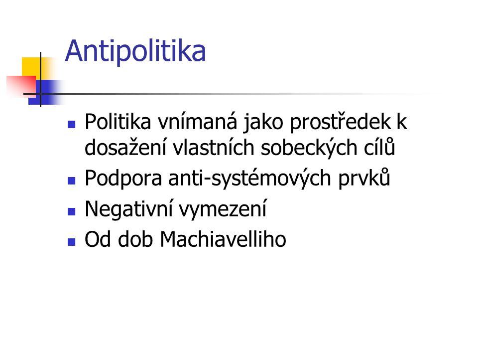 Antipolitika Politika vnímaná jako prostředek k dosažení vlastních sobeckých cílů. Podpora anti-systémových prvků.