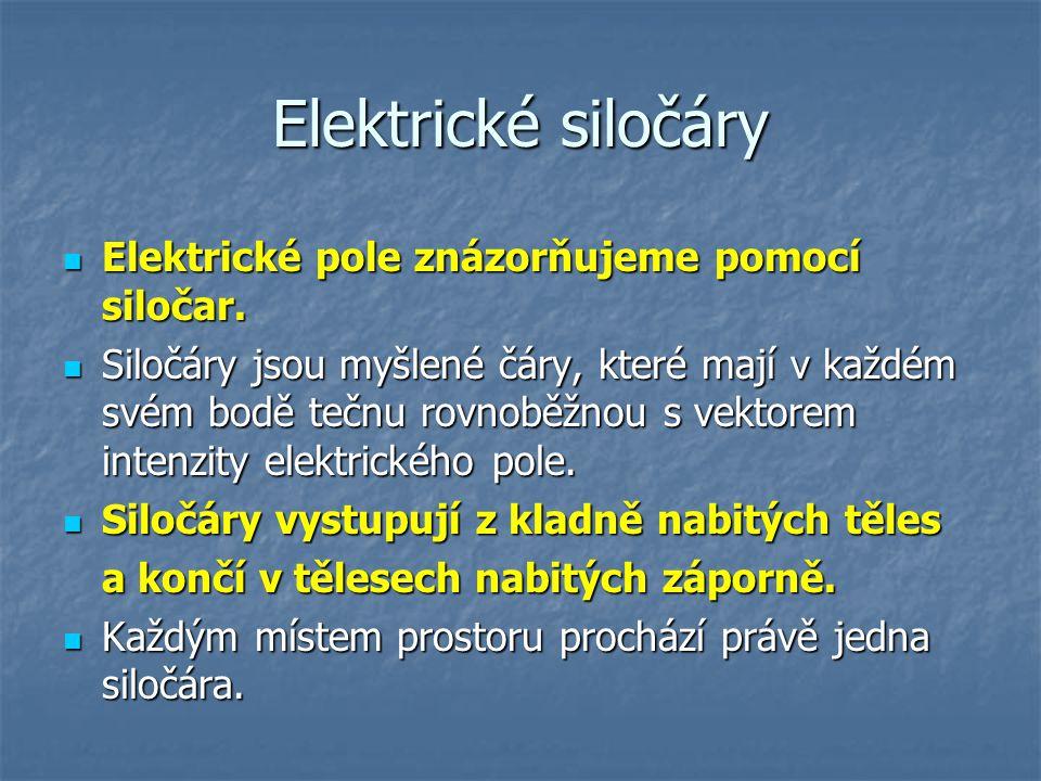 Elektrické siločáry Elektrické pole znázorňujeme pomocí siločar.
