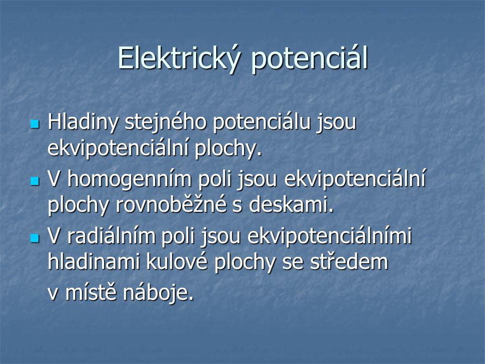 Elektrický potenciál Hladiny stejného potenciálu jsou ekvipotenciální plochy. V homogenním poli jsou ekvipotenciální plochy rovnoběžné s deskami.