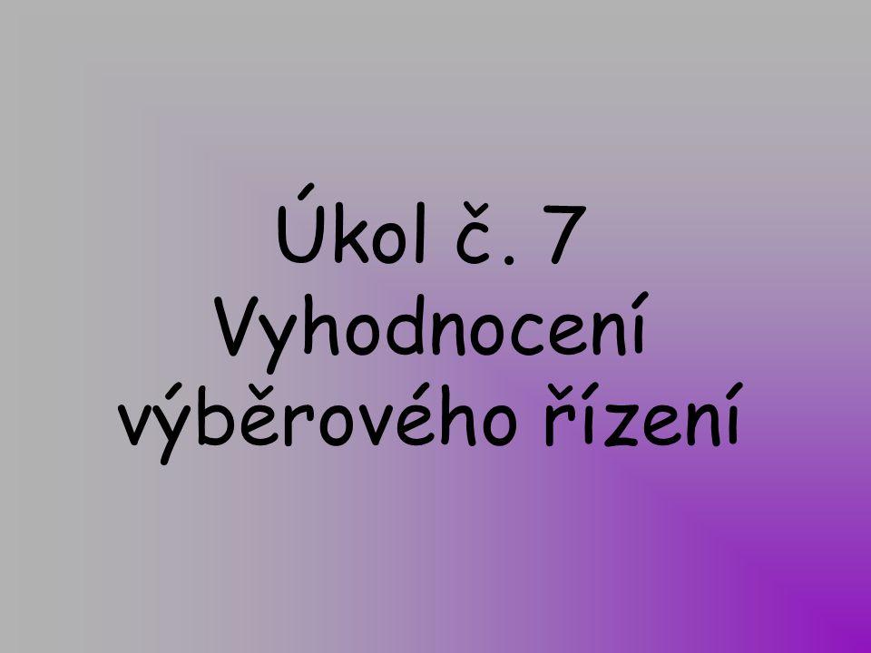 Úkol č. 7 Vyhodnocení výběrového řízení