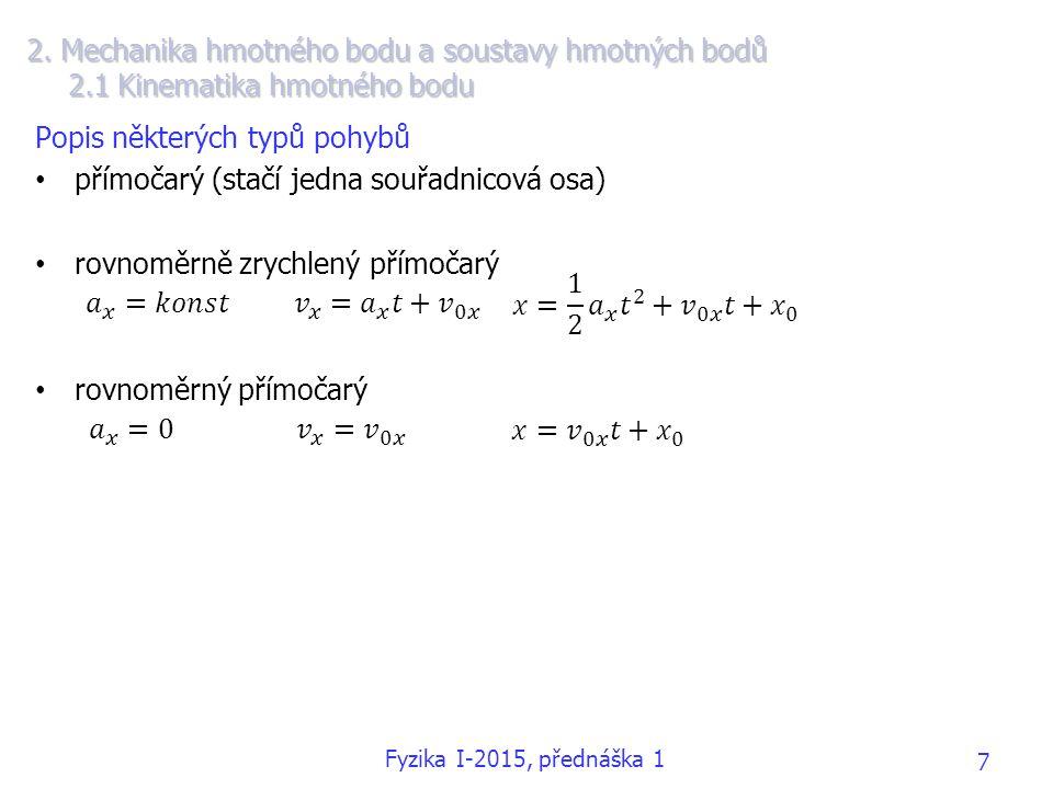 Popis některých typů pohybů přímočarý (stačí jedna souřadnicová osa)