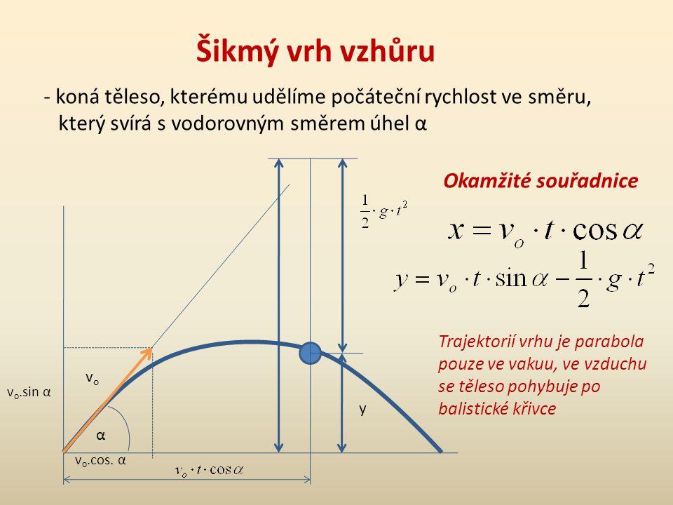 Šikmý vrh vzhůru koná těleso, kterému udělíme počáteční rychlost ve směru, který svírá s vodorovným směrem úhel α.