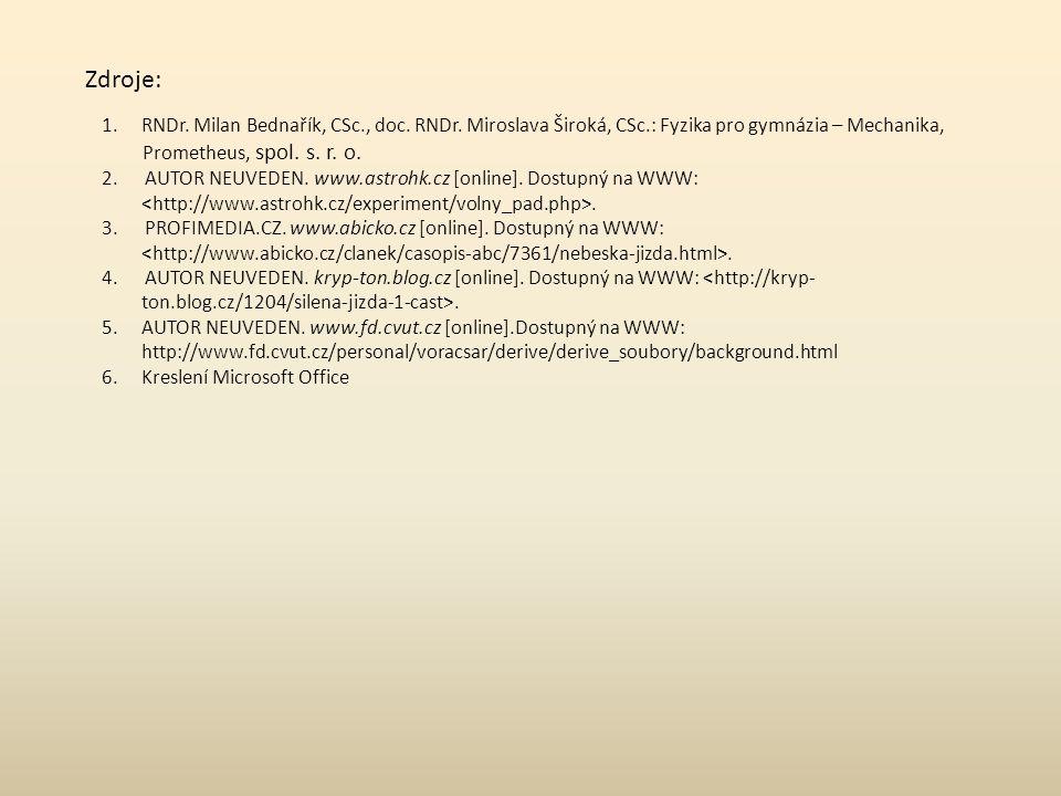 Zdroje: RNDr. Milan Bednařík, CSc., doc. RNDr. Miroslava Široká, CSc.: Fyzika pro gymnázia – Mechanika,