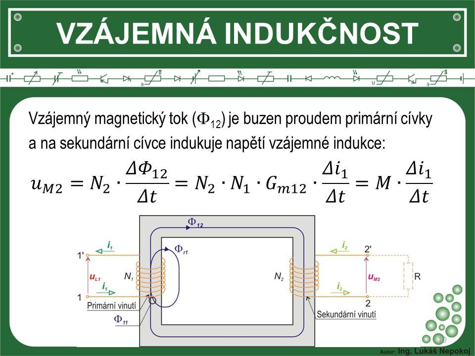 VZÁJEMNÁ INDUKČNOST Vzájemný magnetický tok (12) je buzen proudem primární cívky a na sekundární cívce indukuje napětí vzájemné indukce: