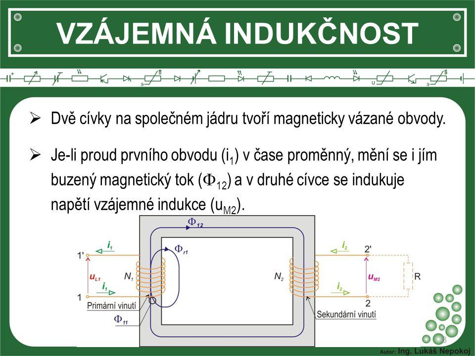 VZÁJEMNÁ INDUKČNOST Dvě cívky na společném jádru tvoří magneticky vázané obvody.