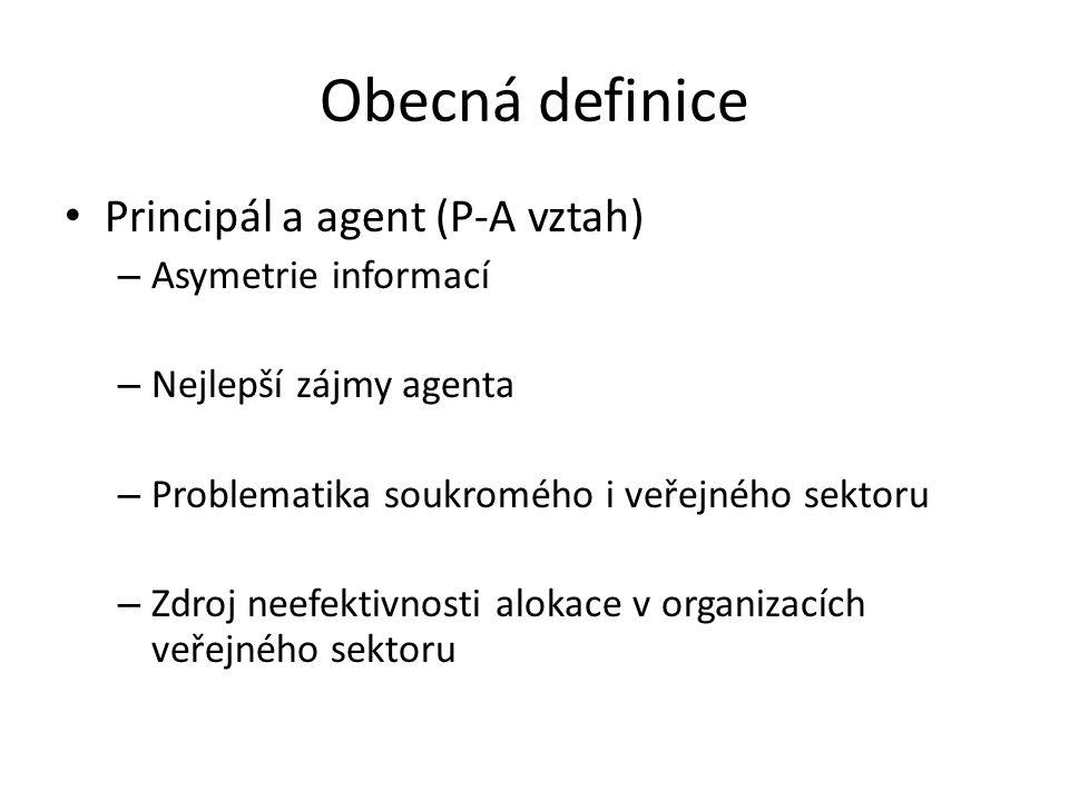 Obecná definice Principál a agent (P-A vztah) Asymetrie informací