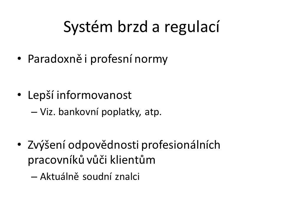 Systém brzd a regulací Paradoxně i profesní normy Lepší informovanost