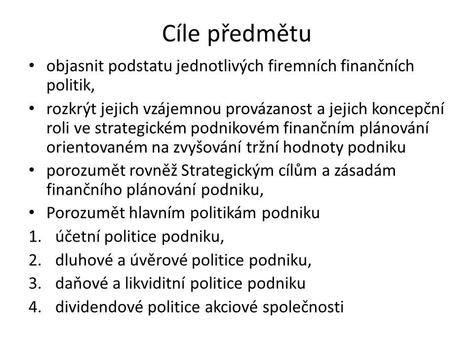 Cíle předmětu objasnit podstatu jednotlivých firemních finančních politik,