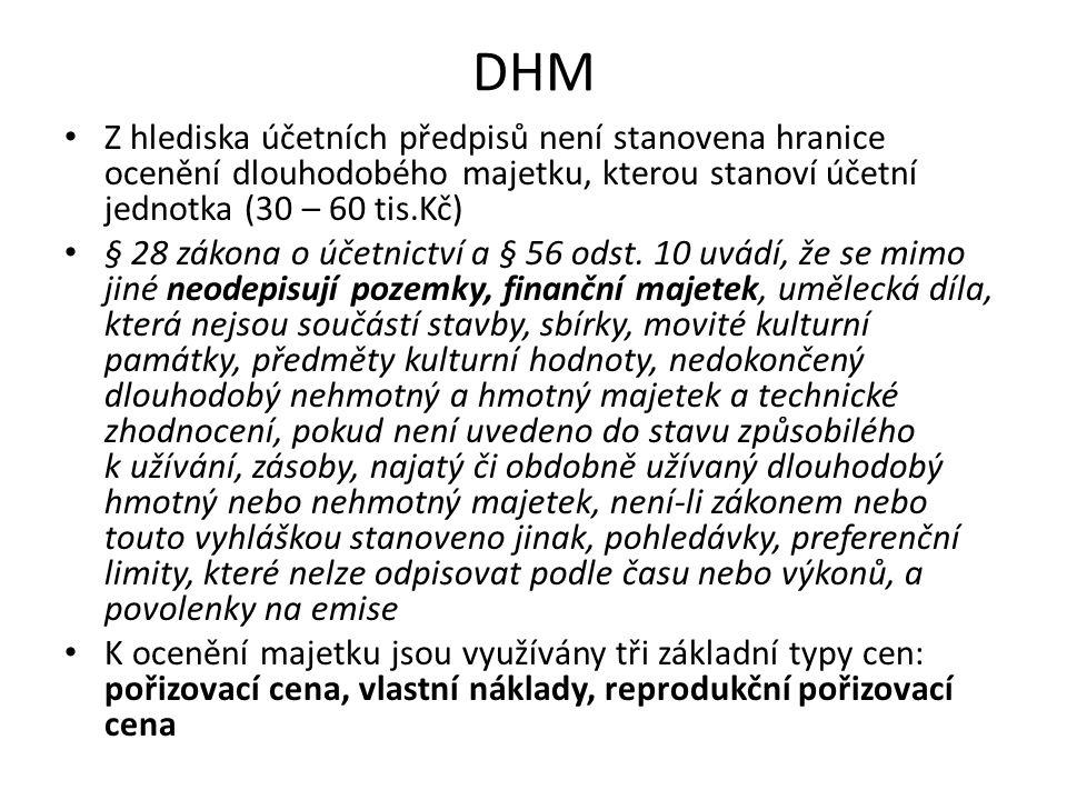 DHM Z hlediska účetních předpisů není stanovena hranice ocenění dlouhodobého majetku, kterou stanoví účetní jednotka (30 – 60 tis.Kč)