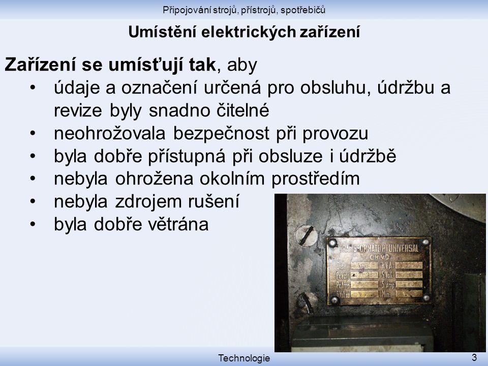 Umístění elektrických zařízení