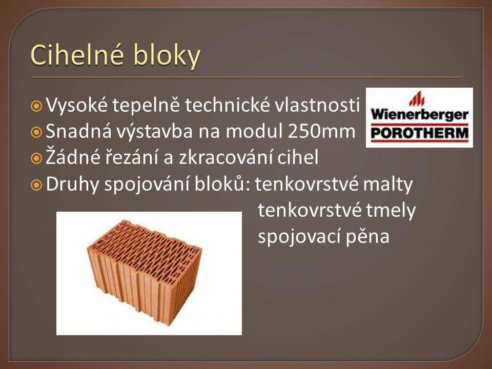 Cihelné bloky Vysoké tepelně technické vlastnosti