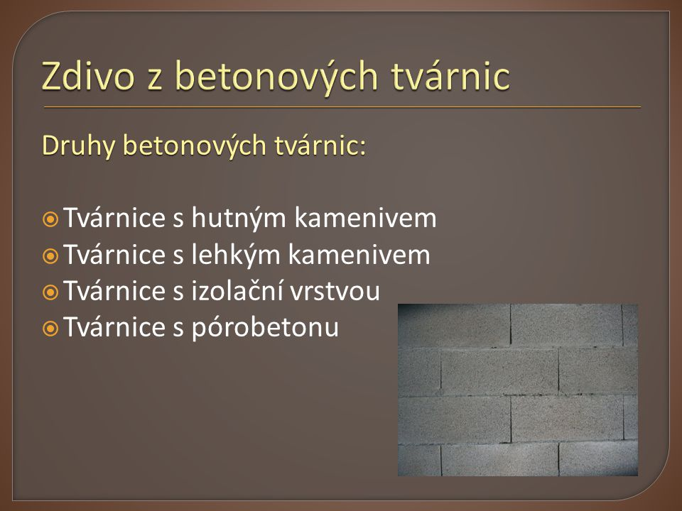 Zdivo z betonových tvárnic