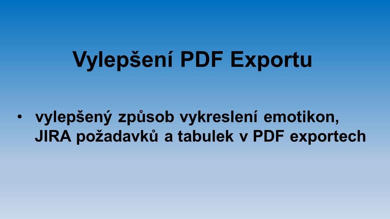 Vylepšení PDF Exportu vylepšený způsob vykreslení emotikon,