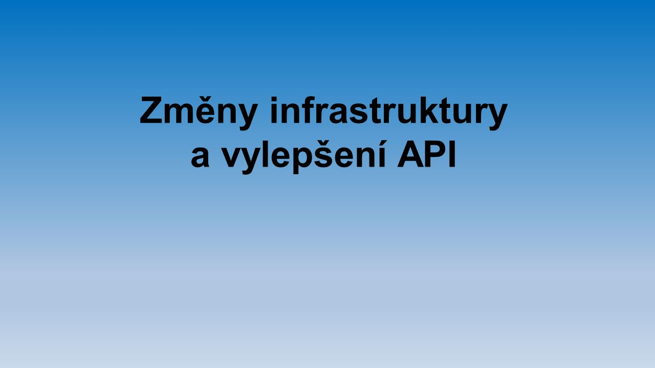Změny infrastruktury a vylepšení API