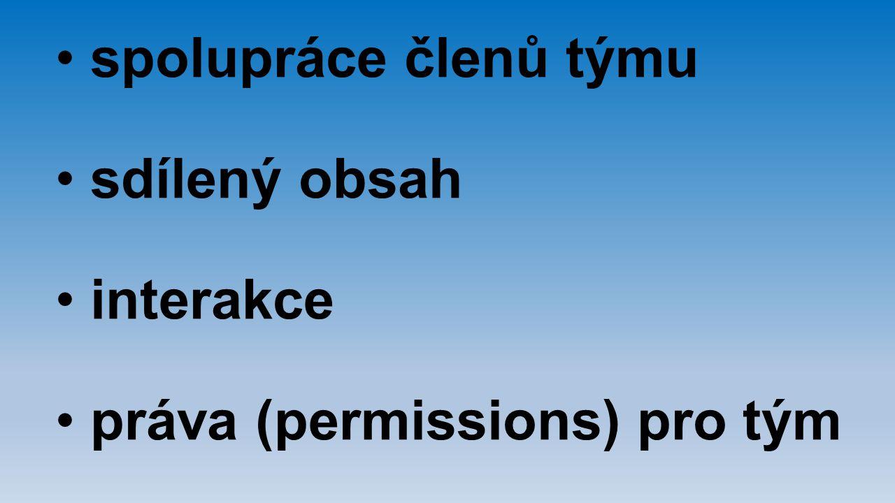 spolupráce členů týmu sdílený obsah interakce práva (permissions) pro tým