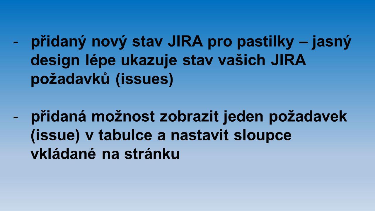 přidaný nový stav JIRA pro pastilky – jasný