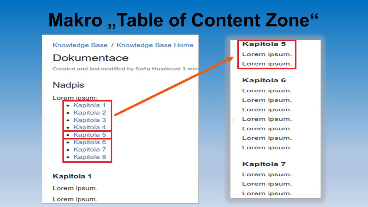 "Makro ""Table of Content Zone"
