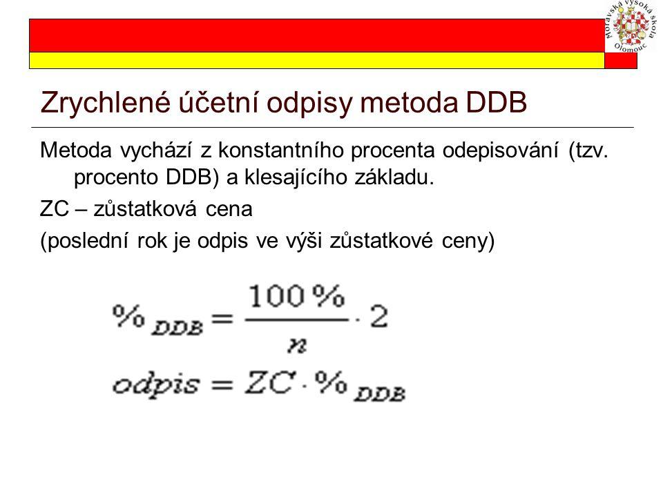 Zrychlené účetní odpisy metoda DDB