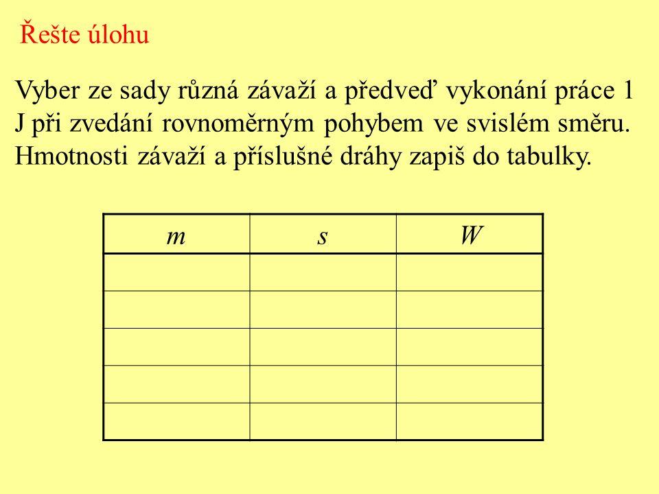 Řešte úlohu Vyber ze sady různá závaží a předveď vykonání práce 1 J při zvedání rovnoměrným pohybem ve svislém směru.