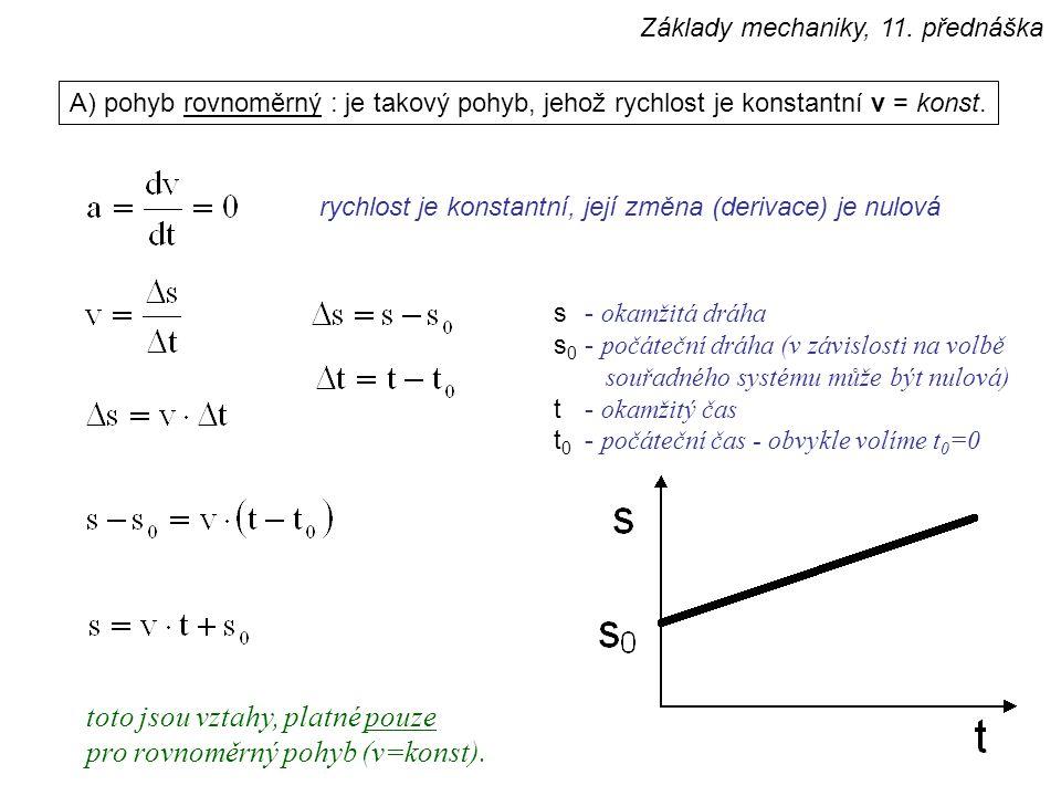 toto jsou vztahy, platné pouze pro rovnoměrný pohyb (v=konst).