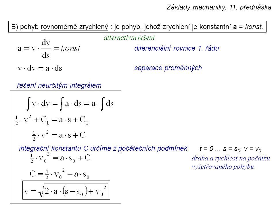 Základy mechaniky, 11. přednáška