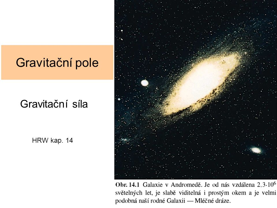 Gravitační pole Gravitační síla HRW kap. 14