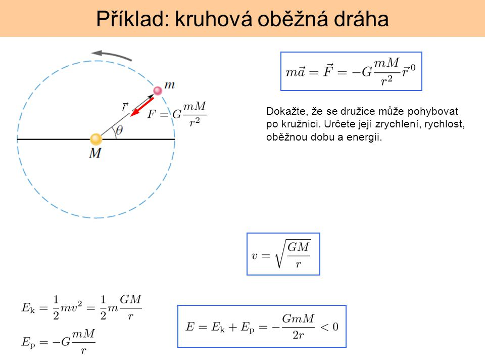 Příklad: kruhová oběžná dráha