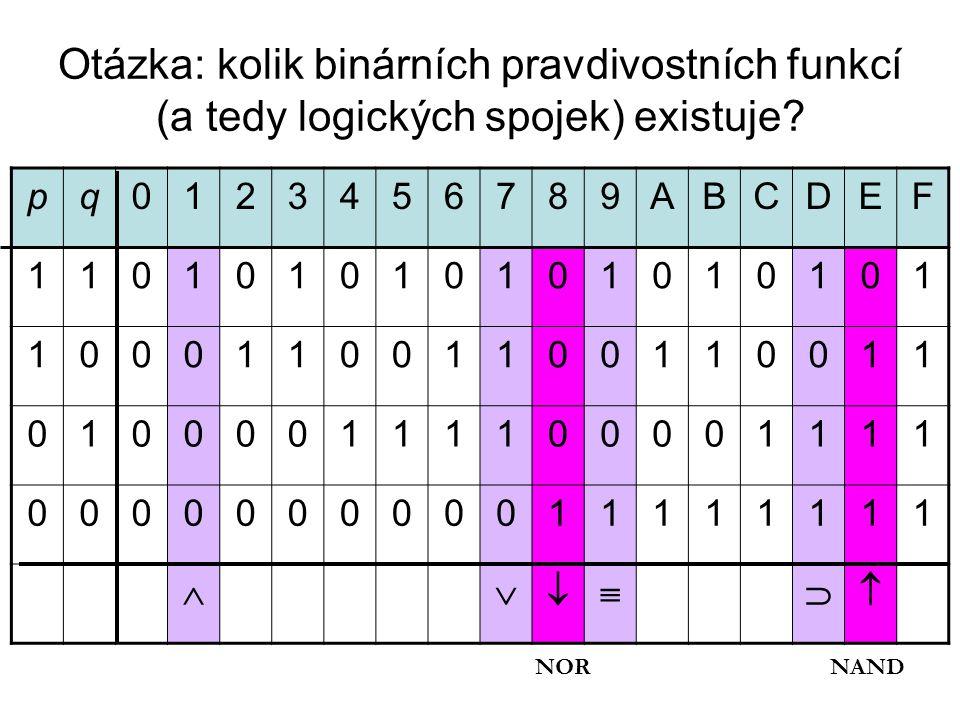 Otázka: kolik binárních pravdivostních funkcí (a tedy logických spojek) existuje