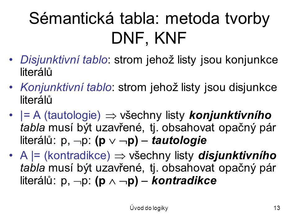 Sémantická tabla: metoda tvorby DNF, KNF
