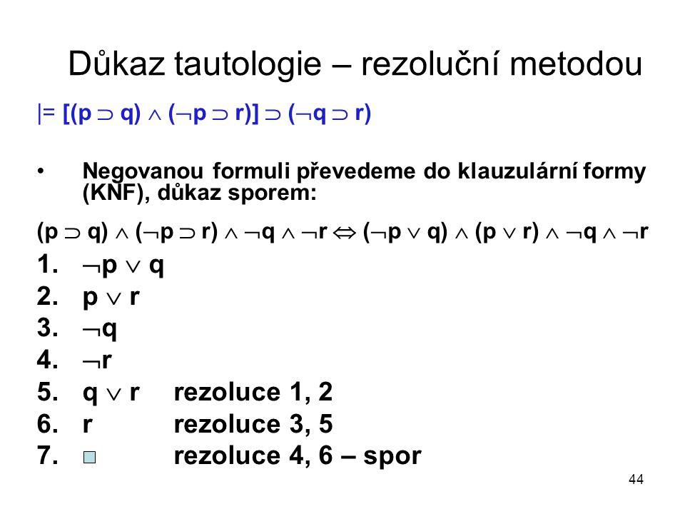 Důkaz tautologie – rezoluční metodou